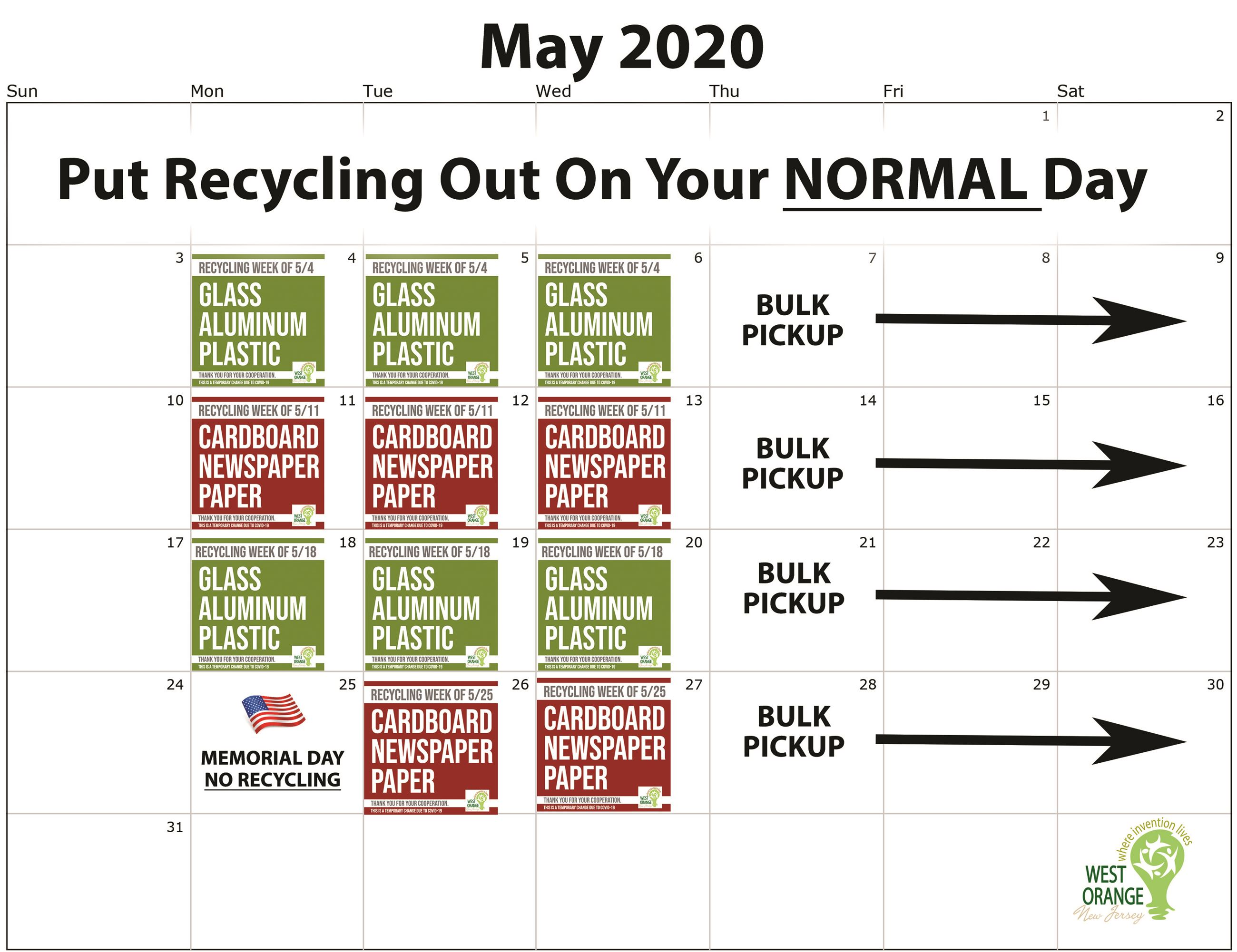 May Recycling Calendar