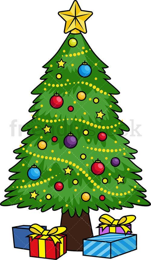 2-decorated-christmas-tree-cartoon-clipart-500x858