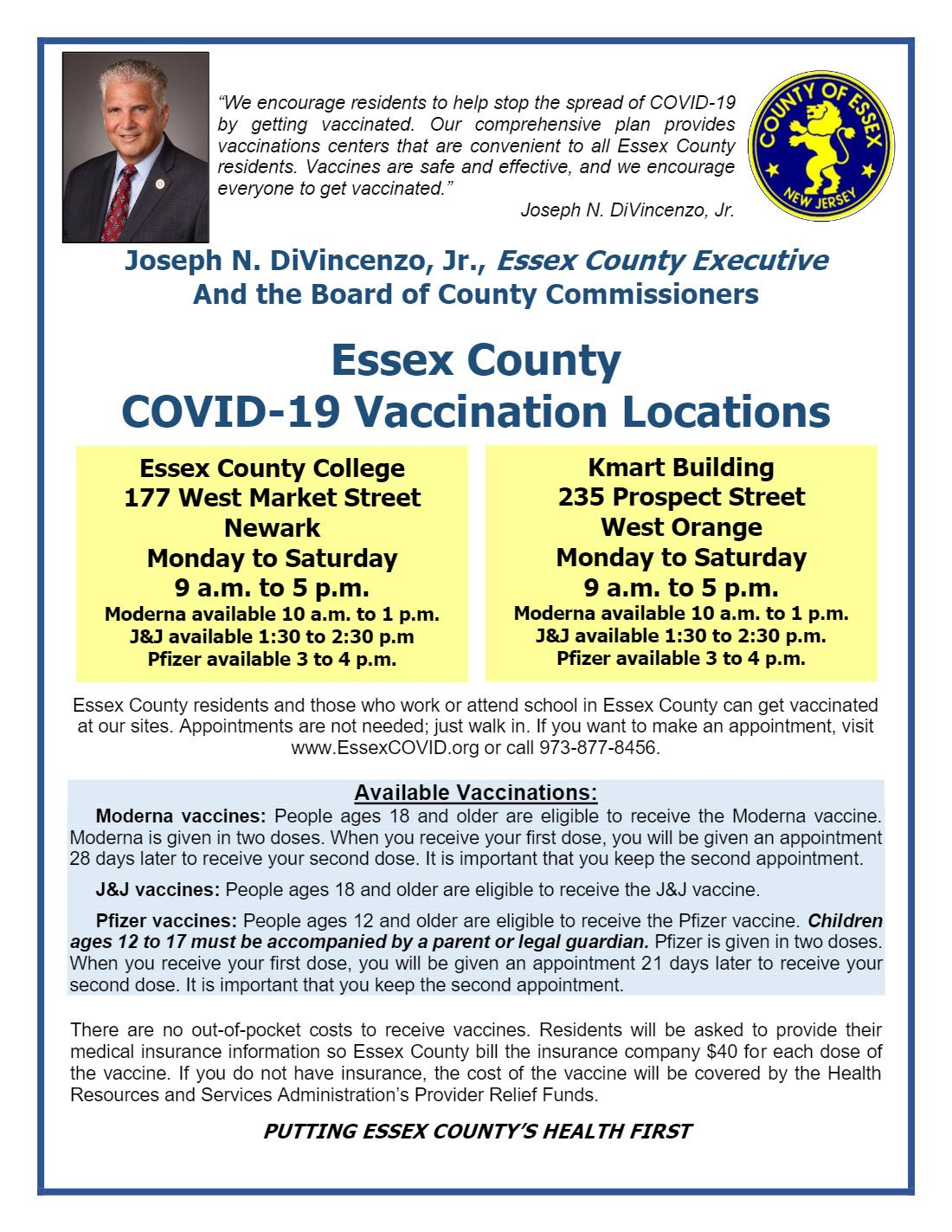 Essex County Covid Vaccination Locations